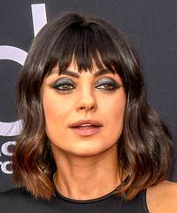 Mila Kunis Medium Wavy   Black  Bob  Haircut with Blunt Cut Bangs