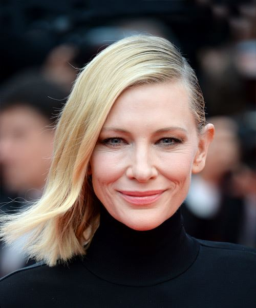 Cate Blanchett Medium Straight Casual  Bob  Hairstyle   - Light Blonde Hair Color