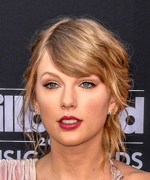 Taylor Swift Medium Wavy Casual   Updo Hairstyle with Side Swept Bangs  -  Blonde Hair Color
