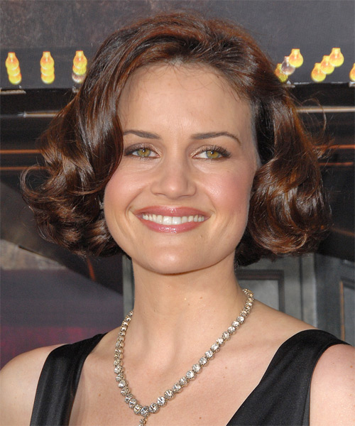 Carla Gugino Medium Wavy Formal Bob  Hairstyle   - Medium Brunette