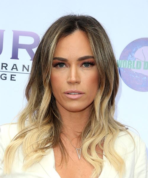 Teddi Jo Mellencamp Long Straight Casual    Hairstyle   -  Brunette and Light Blonde Two-Tone Hair Color