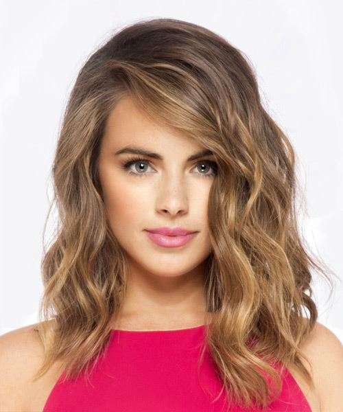 Long Wavy Casual  Bob  Hairstyle   -  Brunette Hair Color