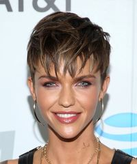 Ruby Rose     Dark Brunette Pixie  Cut with Layered Bangs
