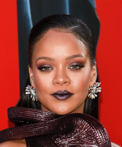 Rihanna Long Straight Formal   Updo Hairstyle   - Black  Hair Color