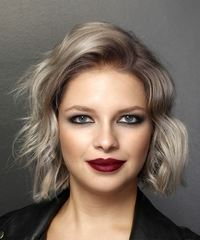 Short Wavy Casual  Bob  Hairstyle   - Light Ash Blonde Hair Color