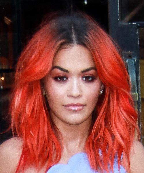 Rita Ora Medium Wavy Casual Bright Red Hairstyle