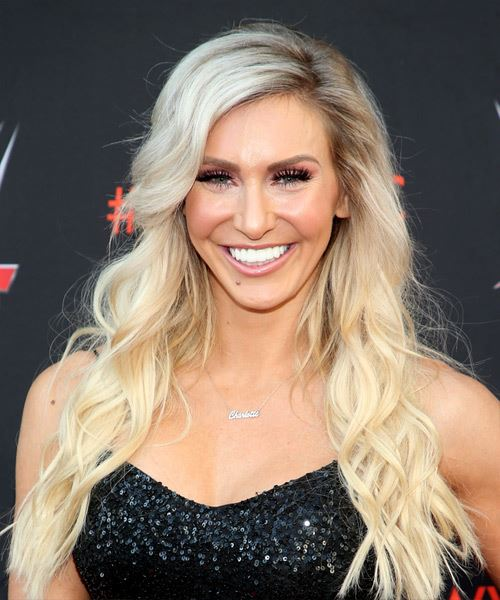 Charlotte Flair Long Wavy Casual    Hairstyle with Side Swept Bangs  - Light Blonde Hair Color