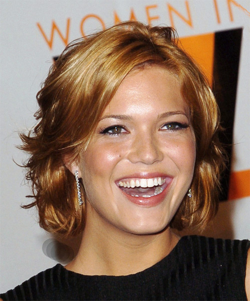 Mandy Moore Medium Wavy Casual   Hairstyle with Side Swept Bangs