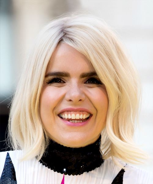 Paloma Faith Medium Straight Casual  Bob  Hairstyle   - Light Blonde Hair Color