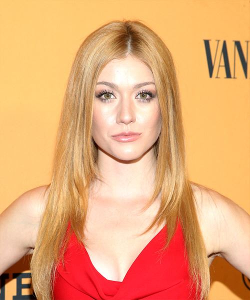 Katherine McNamara Long Straight Blonde Hairstyle with Medium Hair Density