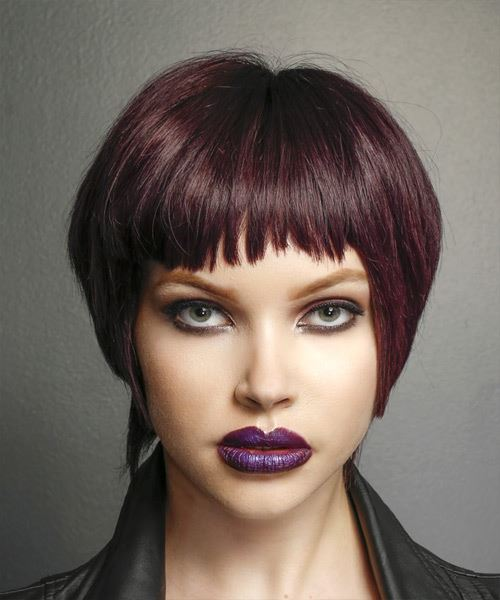 Short Straight Casual    Hairstyle with Asymmetrical Bangs  - Purple  Hair Color