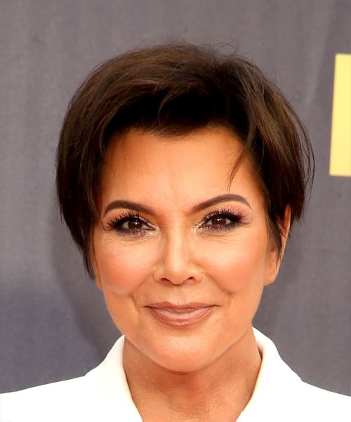 Kris Jenner Short Straight Casual  Pixie  Hairstyle   - Medium Brunette Hair Color