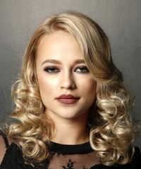 Medium Curly Formal    Hairstyle   - Light Blonde Hair Color