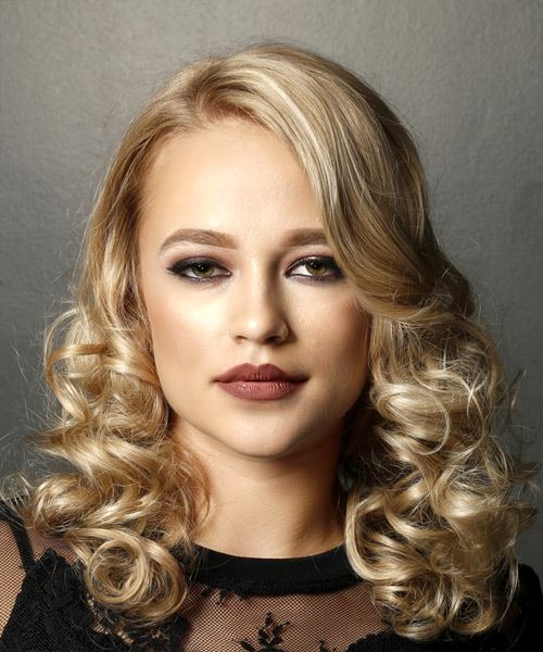 Medium Curly   Light Blonde   Hairstyle