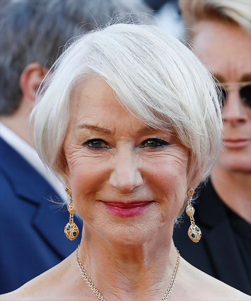 Helen Mirren Short Straight Casual  Bob  Hairstyle with Side Swept Bangs  - Light Grey Hair Color