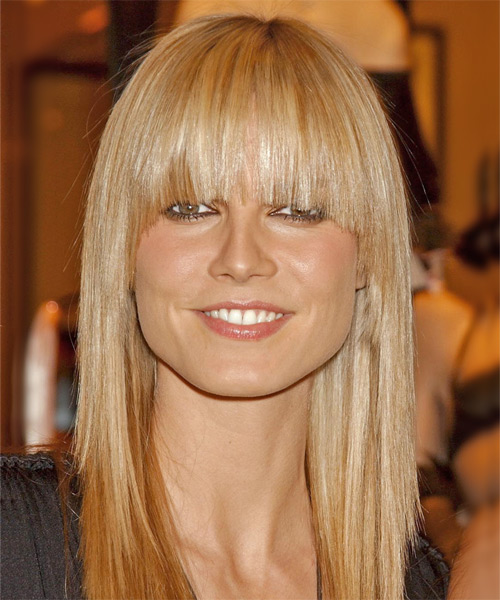 Heidi Klum Long Straight Casual    Hairstyle with Blunt Cut Bangs  - Light Copper Blonde Hair Color