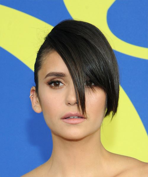 Nina Dobrev Long Straight Formal   Updo Hairstyle with Side Swept Bangs  - Dark Brunette Hair Color