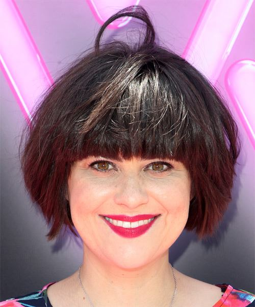 Rebekka Johnson Short Straight Casual  Shag  Hairstyle with Blunt Cut Bangs  - Dark Brunette Hair Color