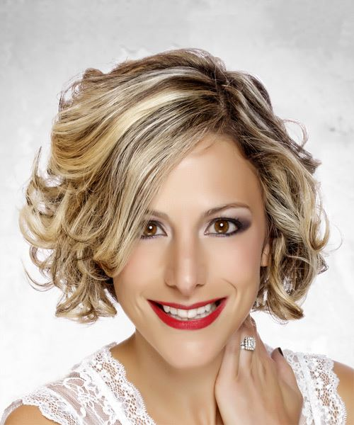 Medium Wavy Formal  Bob  Hairstyle with Side Swept Bangs  - Light Blonde Hair Color