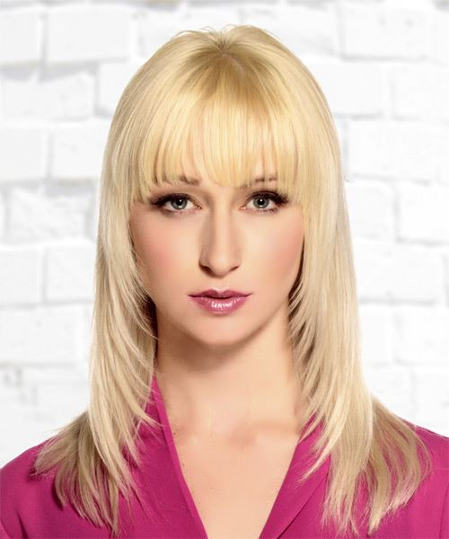 Long Straight Light Blonde Hairstyle with Blunt Cut Bangs