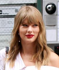Taylor Swift Long Wavy Casual    Hairstyle with Blunt Cut Bangs  -  Blonde Hair Color