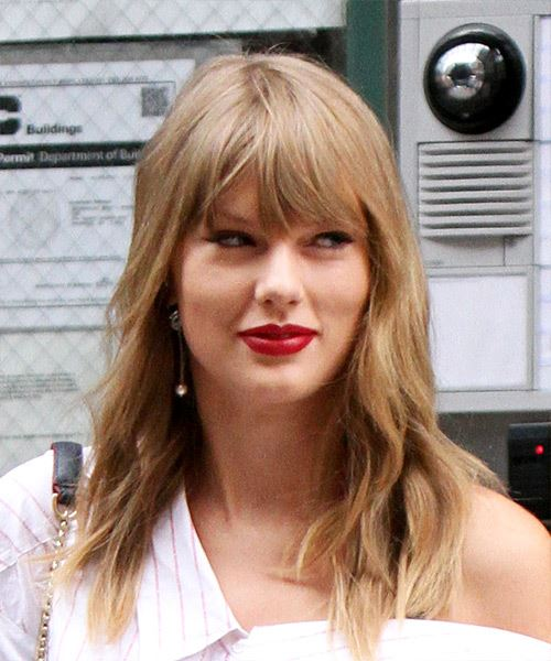 Taylor Swift Long Wavy Casual Hairstyle with Blunt Cut Bangs ...