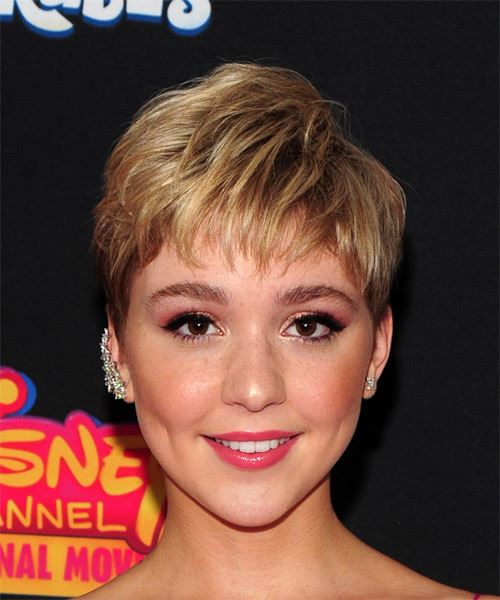 Cozi Zuehlsdorff     Dark Blonde Pixie  Cut with Layered Bangs