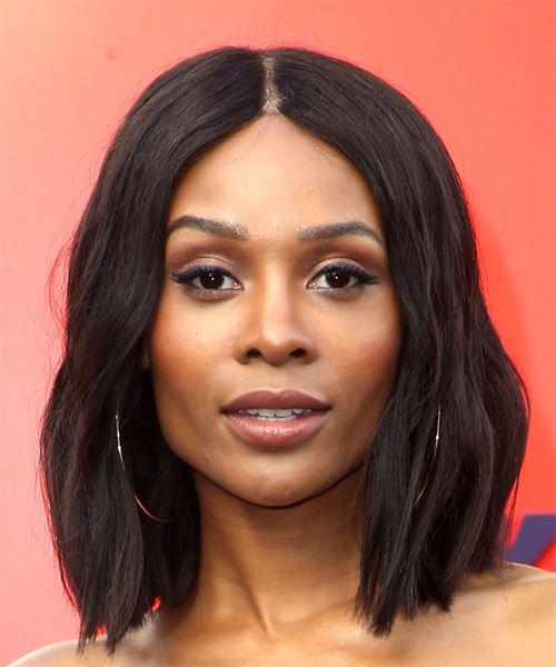 Zuri Hall Medium Straight Formal  Bob  Hairstyle   - Black  Hair Color
