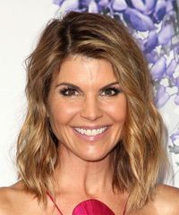 Lori Loughlin Medium Wavy Casual  Bob  Hairstyle   - Light Brunette Hair Color