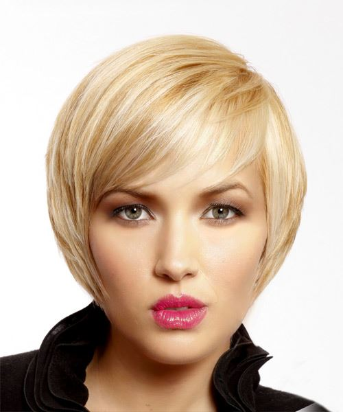 Short Straight   Light Blonde   Hairstyle with Side Swept Bangs