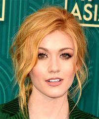 Katherine McNamara Long Wavy Casual   Updo Hairstyle   - Light Red Hair Color