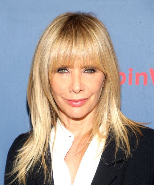 Rosanna Arquette Long Straight   Light Blonde   Hairstyle with Layered Bangs
