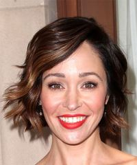 Autumn Reeser Medium Wavy    Brunette Bob  Haircut with Side Swept Bangs
