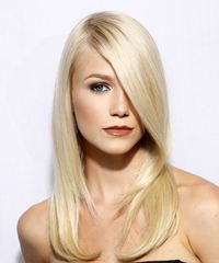 Long Straight Formal    Hairstyle with Side Swept Bangs  - Light Blonde Hair Color
