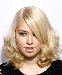 Medium Curly Formal  Bob  Hairstyle with Side Swept Bangs  - Light Blonde Hair Color