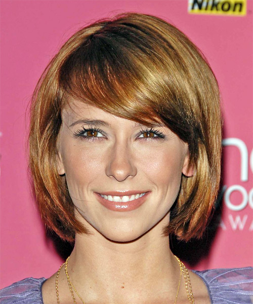 Jennifer Love Hewitt Medium Straight Formal Bob  Hairstyle with Side Swept Bangs