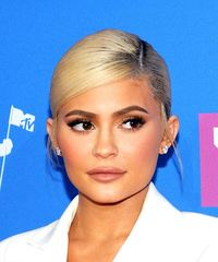 Kylie Jenner Long Straight Casual   Updo Hairstyle with Side Swept Bangs  - Light Blonde Hair Color