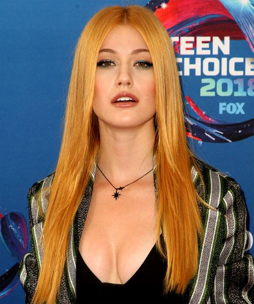 Katherine McNamara Long Straight Formal    Hairstyle with Layered Bangs  - Ginger Hair Color