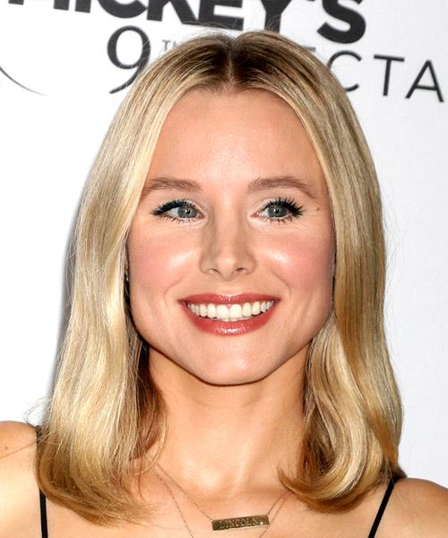 Kristen Bell Medium Straight Casual    Hairstyle   - Light Blonde Hair Color