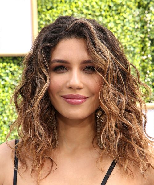 Juliana Harkavy Long Wavy   Dark Brunette Bob  Haircut with Side Swept Bangs  and  Blonde Highlights