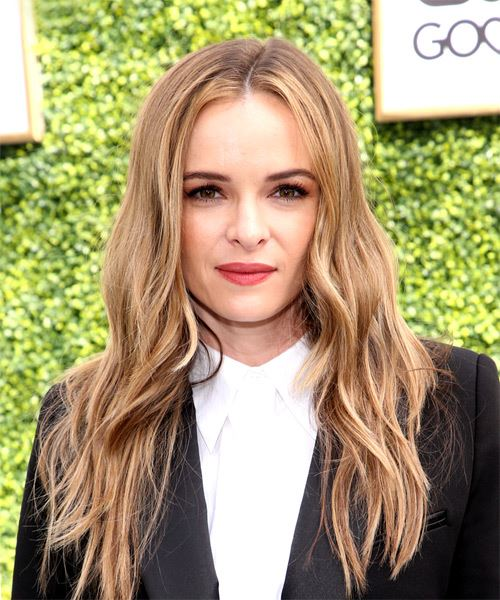 Danielle Panabaker Long Straight Casual    Hairstyle with Layered Bangs  - Dark Blonde Hair Color with  Blonde Highlights