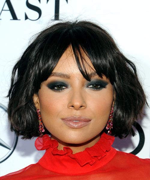Kat Graham Short Wavy   Black  Bob  Haircut with Blunt Cut Bangs