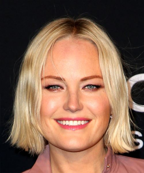Malin Akerman Short Straight Casual  Bob  Hairstyle with Blunt Cut Bangs  -  Blonde Hair Color