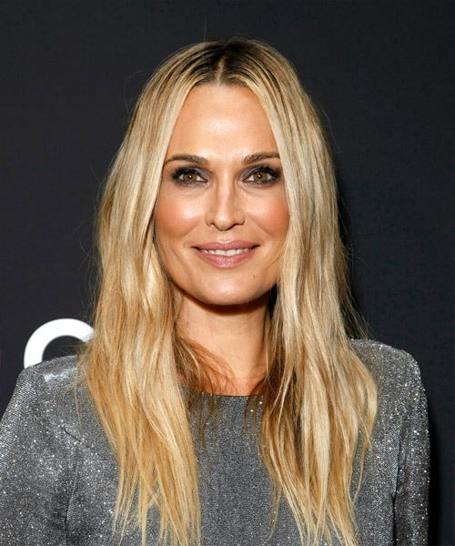 Molly Sims Long Straight Casual    Hairstyle with Layered Bangs  - Dark Blonde Hair Color