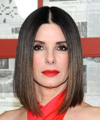 Sandra Bullock Medium Straight   Black  Bob  Haircut