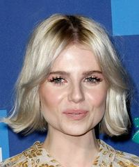 Lucy Boynton Medium Straight   Light Blonde Bob  Haircut with Layered Bangs