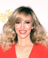 Debbie Gibson Long Curly    Blonde and Light Blonde Two-Tone   Hairstyle with Side Swept Bangs