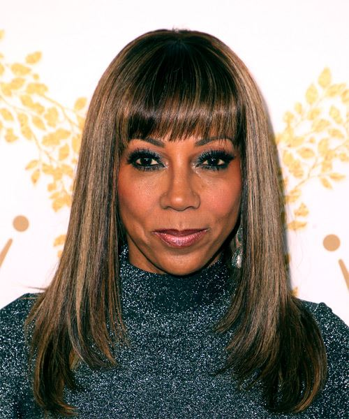 Holly Robinson Peete Long Straight Formal Hairstyle with Blunt Cut Bangs - Dark Copper Brunette Hair