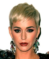 Katy Perry Short Straight Casual  Pixie  Hairstyle with Blunt Cut Bangs  -  Blonde Hair Color