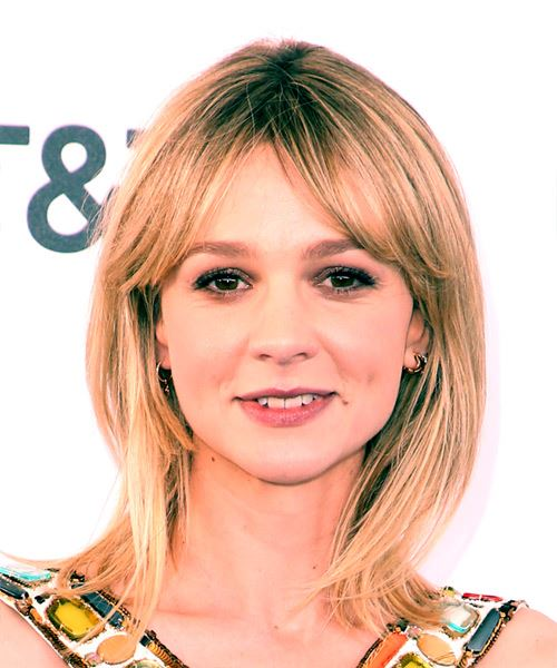Carey Mulligan Medium Straight Casual  Bob  Hairstyle   -  Blonde and Light Blonde Two-Tone Hair Color